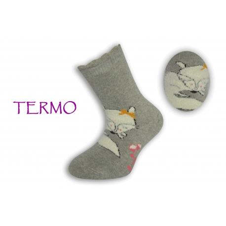 Sivé teplé detské ponožky s líškou