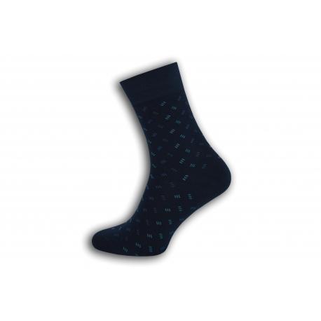 Tmavo modré pánske ponožky so vzorom