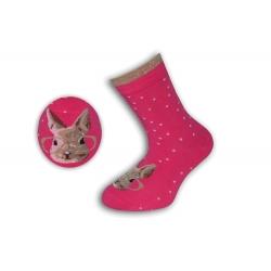 Ružové bodkované ponožky so zajacom