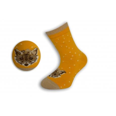 Žlté detské ponožky s líškou