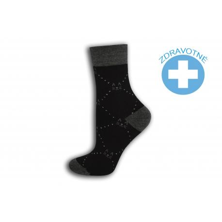 Čierne ponožky so zdravotným lemom
