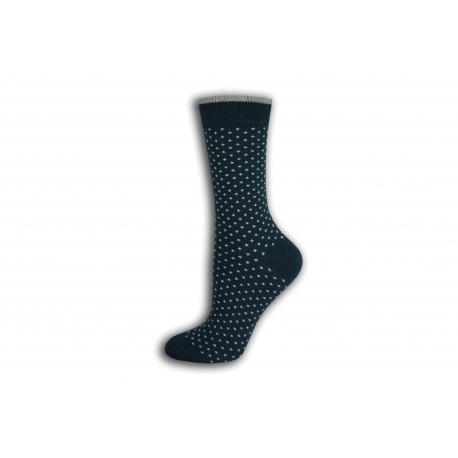 Petrolejové bodkované dámske ponožky