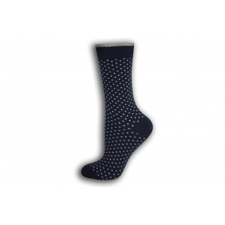 Modré bodkované dámske ponožky