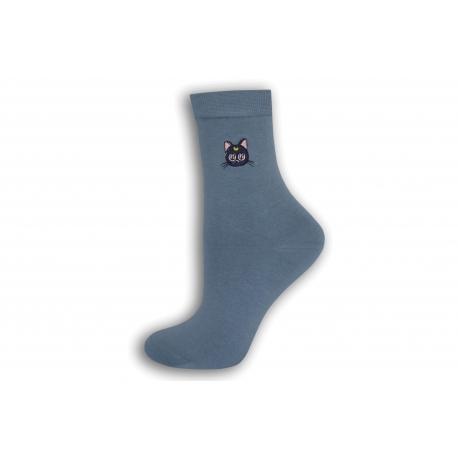 Modré dámske ponožky s mačičkou