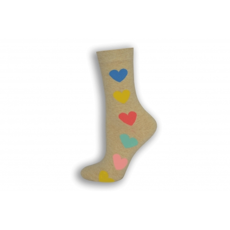 Bledé dámske ponožky so srdiečkami