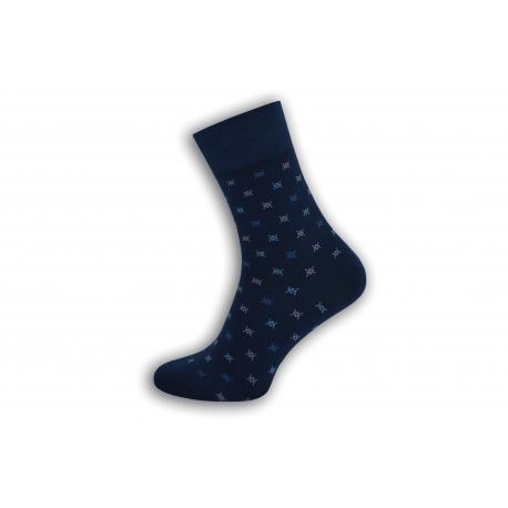 Modré vzorované pánske ponožky