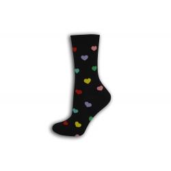 Čierne dámske ponožky so srdiečkami