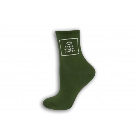 Zelené dámske ponožky s obrázkom