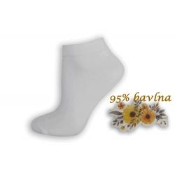 95% bavlny.Biele dámske kotníkové ponožky