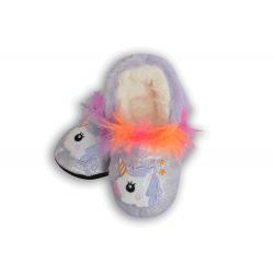 Trblietavé papuče s jednorožcom - fialové