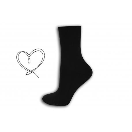 Čierne dámske ponožky so širokým lemom