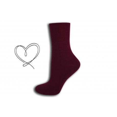 Bordové dámske ponožky so širokým lemom