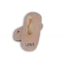 LOVE. Broskyňové nízke papuče