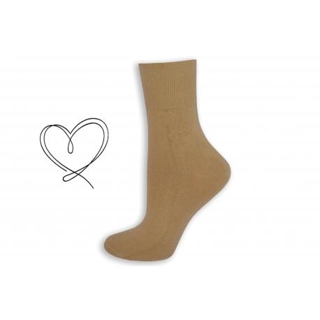 Telové dámske ponožky so širokým lemom