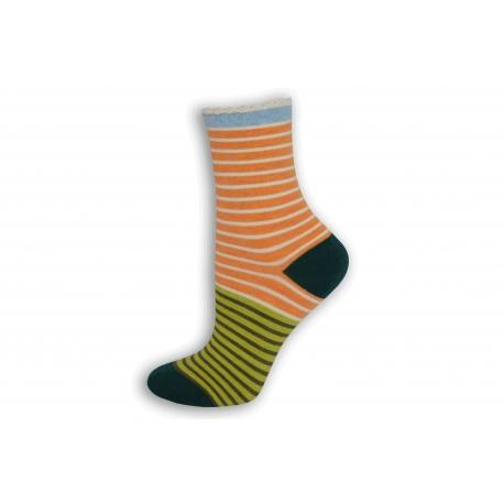 Pásikavé oranžovo-zelené dámske ponožky