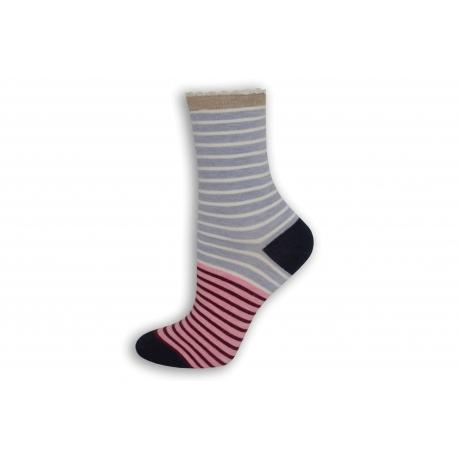 Pásikavé fialovo-ružové dámske ponožky
