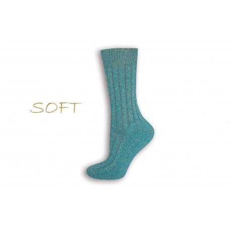 SOFT. Modré jemné ponožky do postele