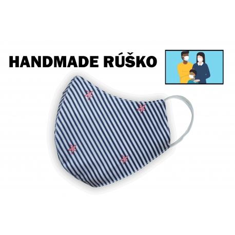Modré bavlnené pásikavé rúško