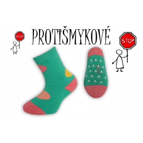 Protišmykové dievčenské ponožky - trávičkové
