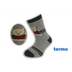 Sivé teplé ponožky s buldozérom