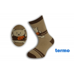 Hnedé teplé ponožky s mackom