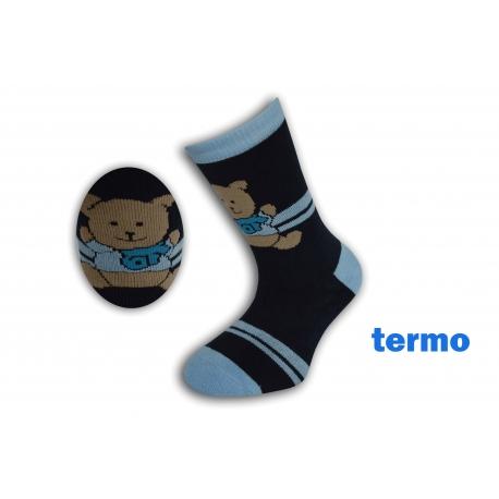 Tmavo modré teplé ponožky s mackom