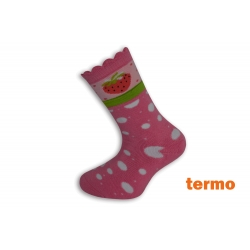 Ružové teplé ponožky s jahodou