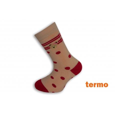 Marhuľové teplé ponožky s bodkami