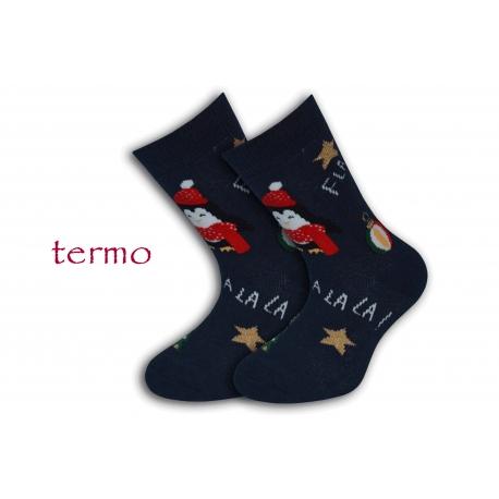 Teplé detské vianočné modré ponožky