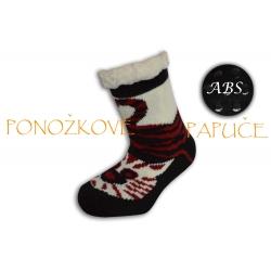 Ponožkové papuče s ABS - čierno-bordové