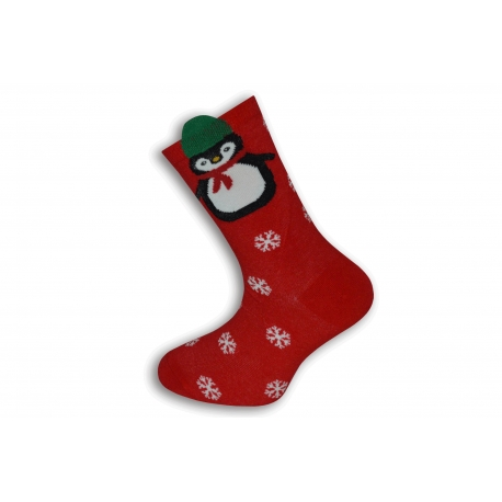Vianočné ponožky s tučniakom a vločkami