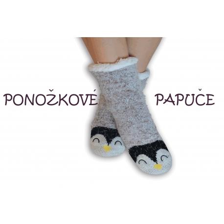 Ponožkové papuče s tučniakom