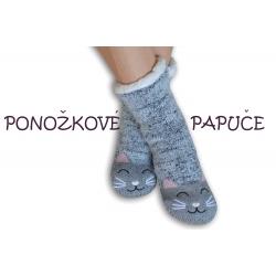 Ponožkové papuče s mačičkou
