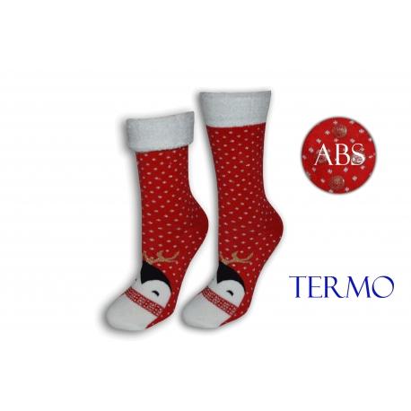 Červené ponožky s tučniakom a lemom