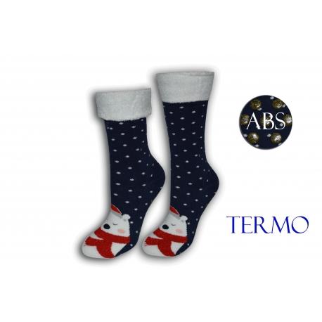 Modré ponožky s mackom a lemom
