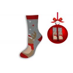 Vianočné ponožky sivé si sobom