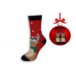 Vianočné ponožky červené so sobom