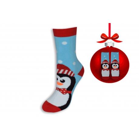Vianočné ponožky modré s tučniakom
