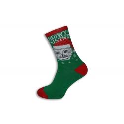Zelené ponožky s vianočnou mačkou