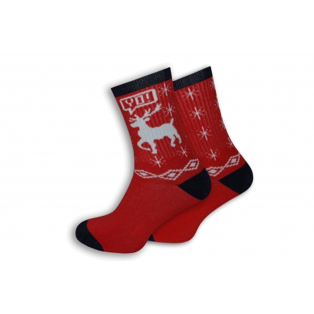 Červené pánske ponožky s jeleňom
