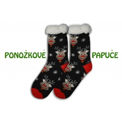 Vianočné ponožkové papuče so sobmi