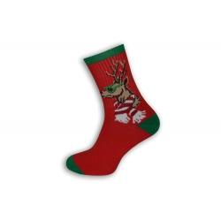 Červené teplé ponožky s jeleňom