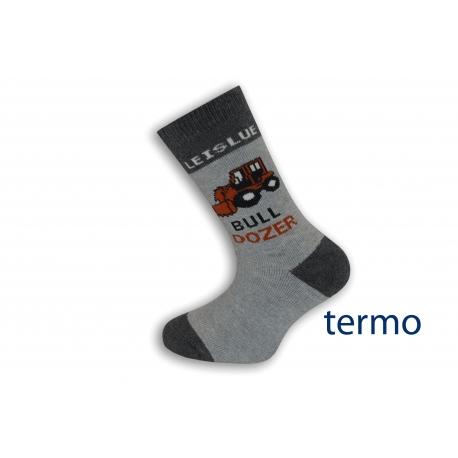 Sivé detské ponožky s buldozerom