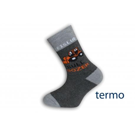 Šedé detské ponožky s buldozerom