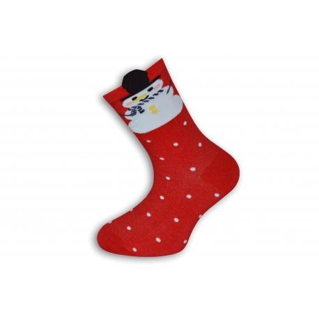 Vianočné ponožky so snehuliakom a snehom