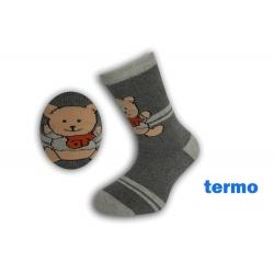 Šedé teplé ponožky s mackom