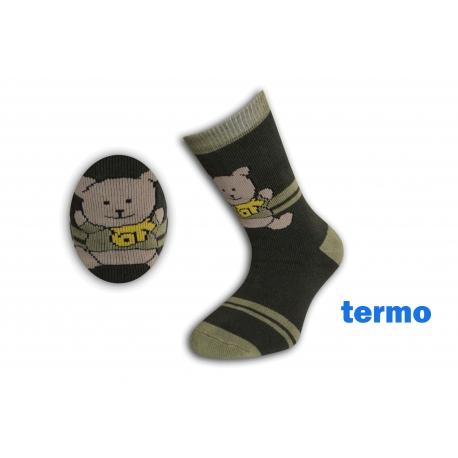 Zelené teplé ponožky s mackom