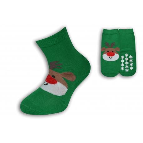 Vianočné zelené ponožky so sobom