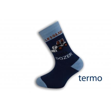 Tmavo modré detské ponožky s buldozerom