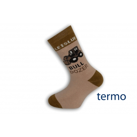Hnedé detské ponožky s buldozerom